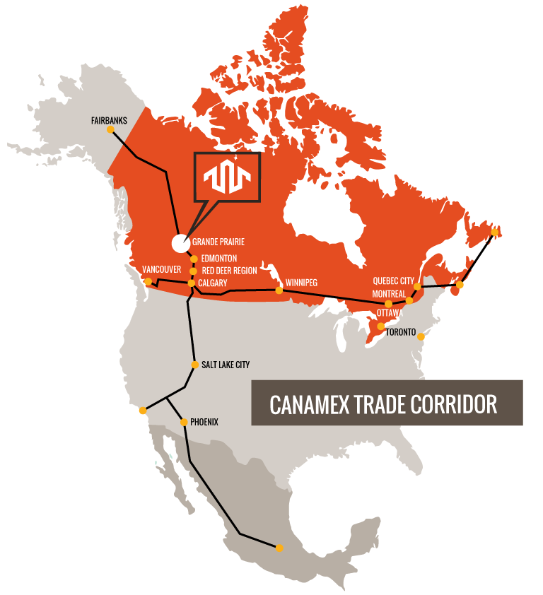 North American Map Showing Canamex Trade Corridor - Westgate Business Park, Grande Prairie, AB